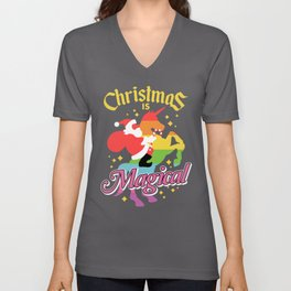 Christmas Is Magical Santa Claus Riding Unicorn Funny Holiday Unisex V-Neck