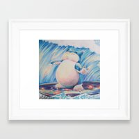 snorlax Framed Art Prints featuring Snorlax Used Surf by LaurelAnneEquineArt