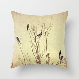 Birds in the Tree II Throw Pillow