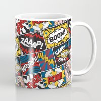 lichtenstein Mugs featuring Modern Comic Book Superhero Pattern Color Colour Cartoon Lichtenstein Pop Art by Season of Victory