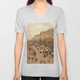 """Camille Pissarro """"Boulevard Montmartre à Paris"""" Unisex V-Neck"""