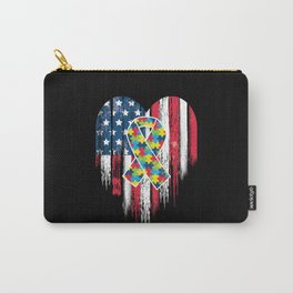 Patriotic Autism American Flag Heart Carry-All Pouch