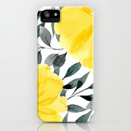Big yellow watercolor flowers iPhone Case
