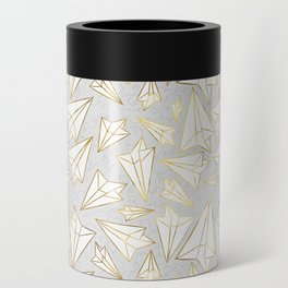 Paper Airplanes Faux Gold on Grey Can Cooler