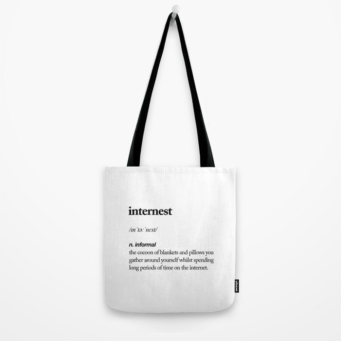 Internest black and white contemporary minimalism typography design home wall decor bedroom Tote Bag