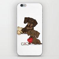 daschund iPhone & iPod Skins featuring Valentine's Day Love Daschund Illustration by Li Kim Goh