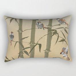 Sparrows And Bamboo Rectangular Pillow