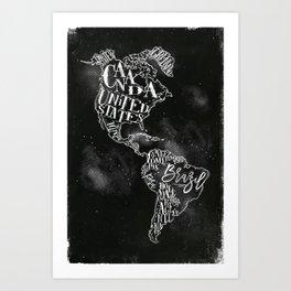 Map America vintage chalk Art Print