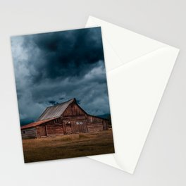 Log Cabin Barn Rural Landscape Stationery Cards