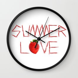 Summer Strawberry Love Wall Clock