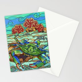 Colorful blue sea crab on ocean floor Stationery Cards