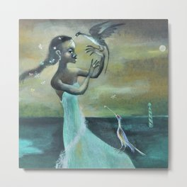 African American Masterpiece 'Girl at the Ocean' by Karl Priebe Metal Print