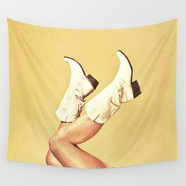 These Boots - Yellow Wall Tapestry