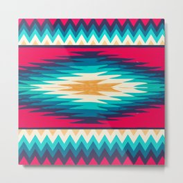 SURF GIRL CHEVRON Metal Print