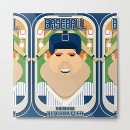 Baseball Blue Pinstripes - Rhubarb Pitchbatter - Josh version Metal Print
