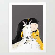 Capricia with Goats Art Print