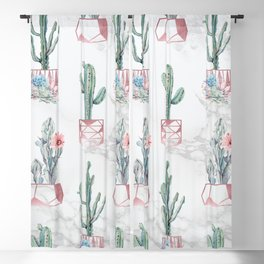 Cactus Rose Gold Marble Potted Cactuses and Succulents Blackout Curtain