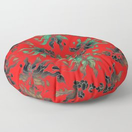 Vintage floral seamless pattern with hand drawn flowering crocus on the red background Floor Pillow