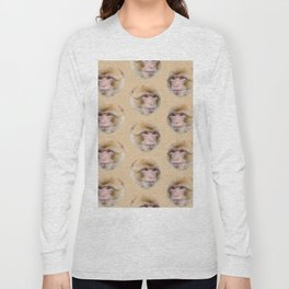 funny cute japanese macaque monkey pattern Long Sleeve T-shirt