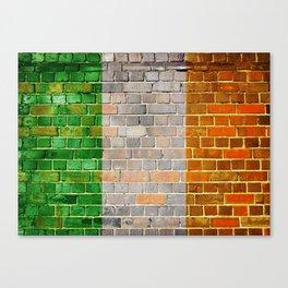 Ireland flag on a brick wall Canvas Print