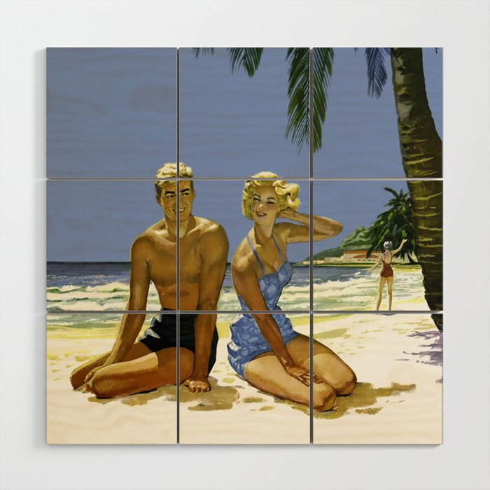 Vintage 1950's Beach Culture Wood Wall Art