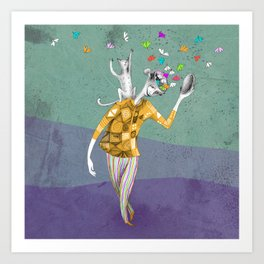 the imaginative robot clown and his cat friend Art Print