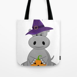 Holiday Hippo Halloween Witch Hippo Tote Bag