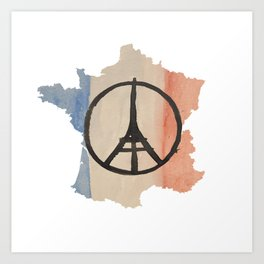 Outline of France with Tri-color Peace Art Print
