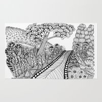 zentangle Area & Throw Rugs featuring Zentangle Illustration - Road Trip by Vermont Greetings