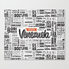 Venezuela Lettering Design - Black and white Canvas Print