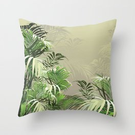 Faded Fronds Throw Pillow