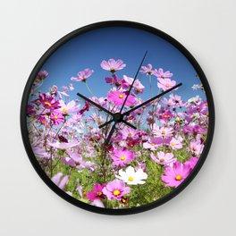 Cosmos Flowers Wall Clock