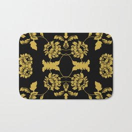 Victorian Floral (Black & Gold) Bath Mat