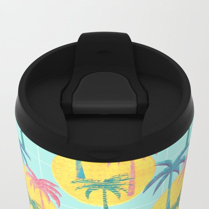 Retro Palms Metal Travel Mug