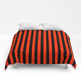 Bright Red and Black Vertical Stripes Comforters