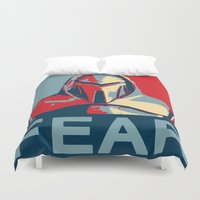 battlestar Duvet Covers featuring Vote for Cylon by Travis Love