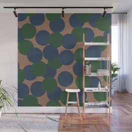 Green and Blue Dots on Salmon Wall Mural