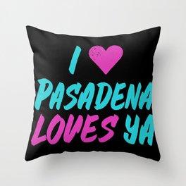 I Heart Pasadena Loves YA Neon Black Throw Pillow