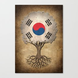 Vintage Tree of Life with Flag of South Korea Canvas Print