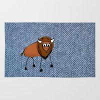 buffalo Area & Throw Rugs featuring buffalo by Paul Simms