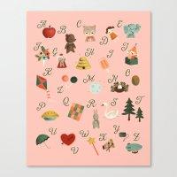 alphabet Canvas Prints featuring Alphabet by The Midnight Rabbit