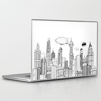 gotham Laptop & iPad Skins featuring Gotham City Skyline by CHAR ODEN