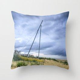 Sailboat Aground During Storm Throw Pillow