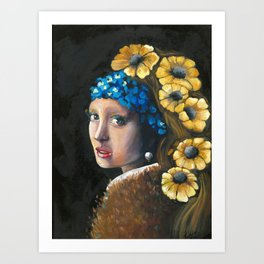Contemporary Girl with the Pearl Earring Art Print