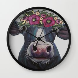 Cow art, Colorful Cow with Flower crown art Wall Clock