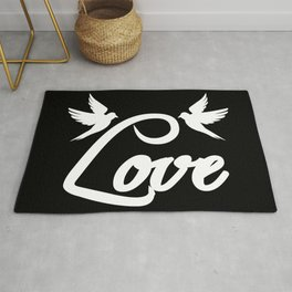 Lettering Love knows, love, romantic, hearts Rug