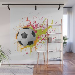 Football design with colorful splashes Wall Mural