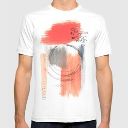 Comfort Zone - A minimalistic india ink and acrylic abstract piece in pink, black, gray, and blue T-shirt