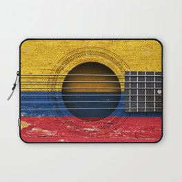 Old Vintage Acoustic Guitar with Colombian Flag Laptop Sleeve