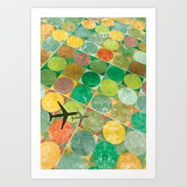 Bird's Eye View: Red and Gold Art Print